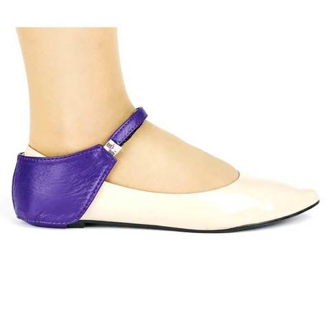 Автопятка из натуральной кожи для женской обуви без каблука баклажан