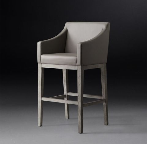 Morgan Slope Arm Leather Stool