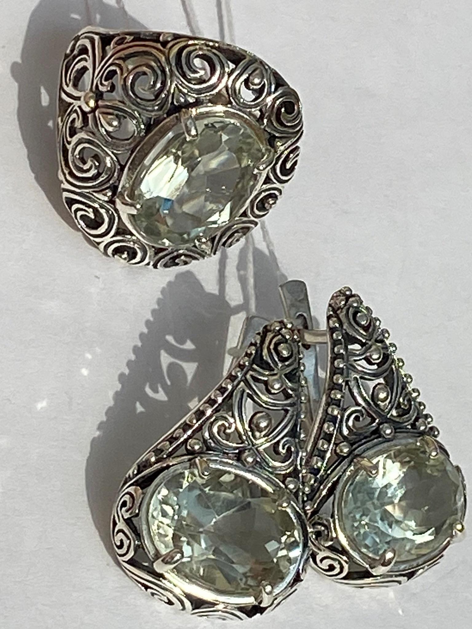 3176-празиолит(кольцо + серьги из серебра)
