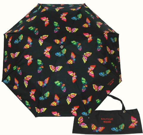 Купить онлайн Зонт складной Moschino 7078-А Butterflies nero в магазине Зонтофф.