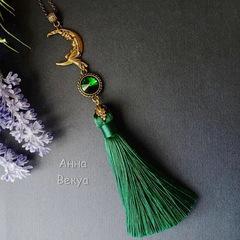 Кисточка декоративная, цвет - зеленый, 85х12 мм
