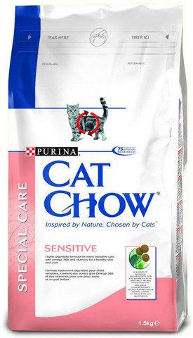Cat Chow Для кошек с чувствительным пищеварением лососем и рисом(adult Sensitive) 1,5 кг