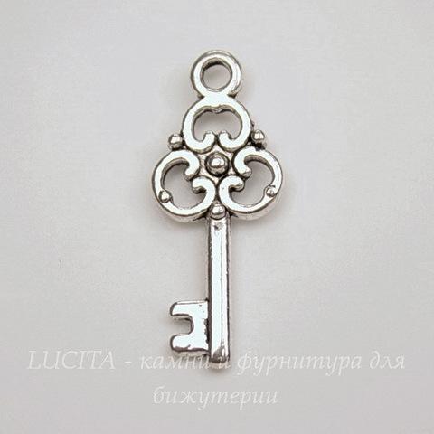 "Подвеска ""Ключик"" 23х10 мм (цвет - античное серебро)"
