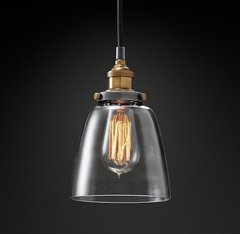 20th C. Factory Filament Clear Glass Cloche Pendant