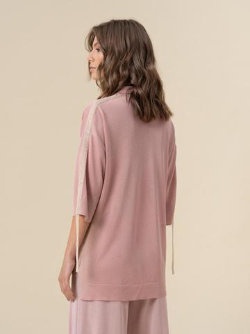 Женский джемпер светло-розового цвета из вискозы - фото 2