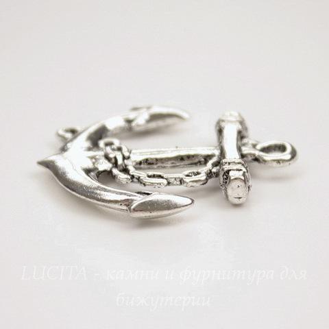 "Подвеска ""Якорь"" (цвет - античное серебро) 32х27 мм"