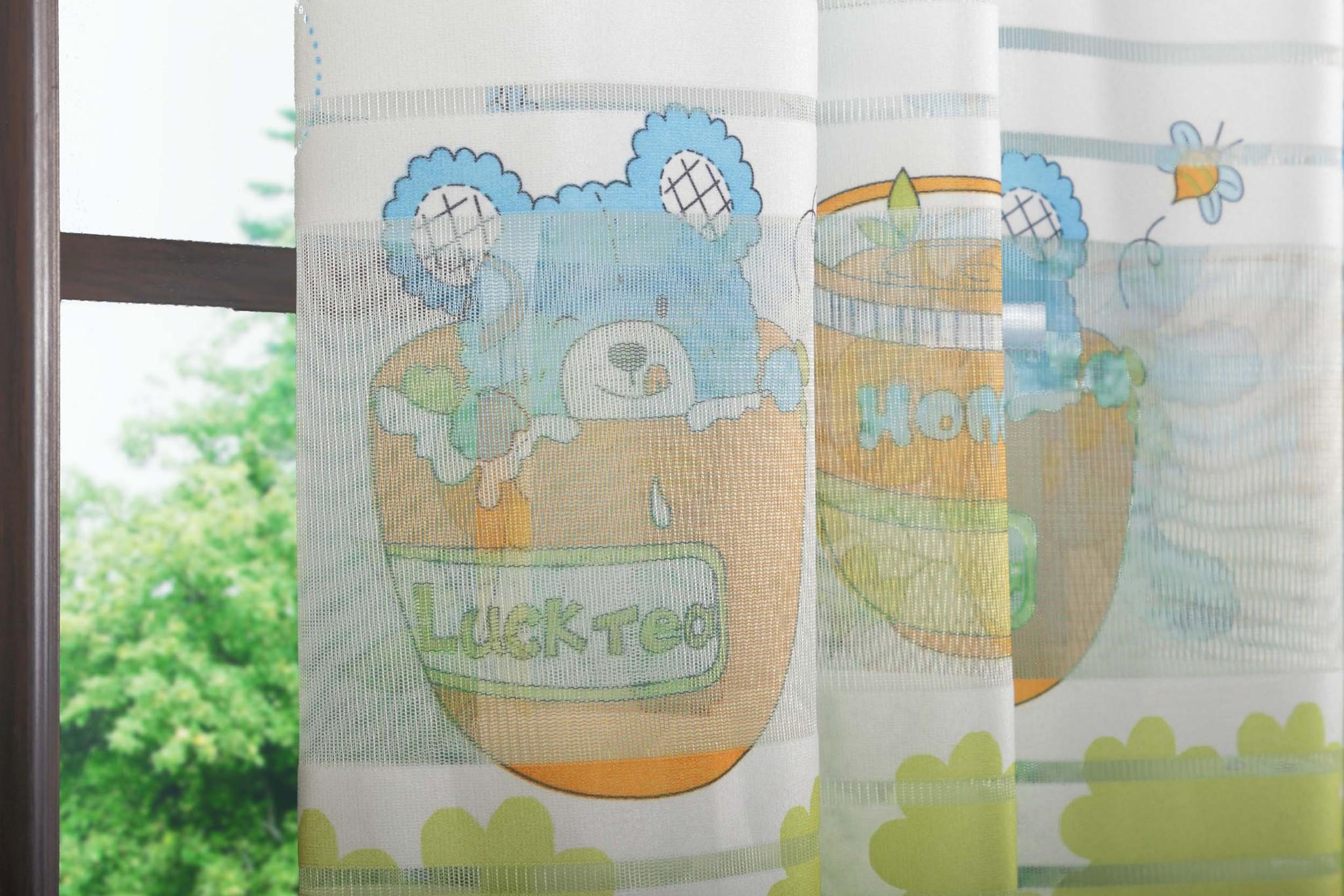 Готовая штора Веселый Мишка (голубой)