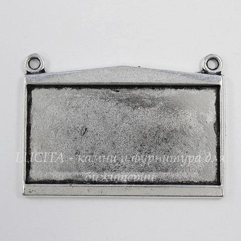 """Сеттинг - основа - коннектор """"Прямоугольник"""" (1-1) для кабошона 44х22 мм (цвет - античное серебро)"""