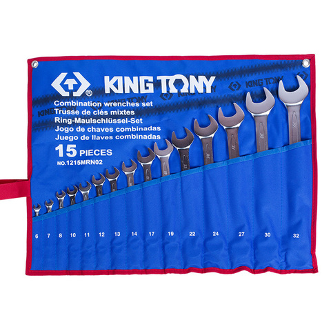 KING TONY (1215MRN02) Набор комбинированных ключей, 6-32 мм, 15 предметов