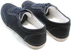 Темно синие мокасины спортивные мужские Vitto Men Shoes 3560 Navy Blue.