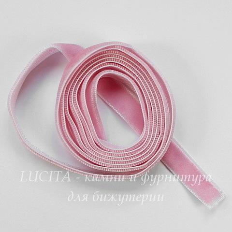 Лента бархатная, цвет - розовый, 10 мм, примерно 1 м