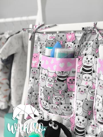 органайзер на дитяче ліжечко з рожевими котиками фото
