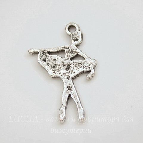 """Подвеска """"Балерина"""" (цвет - античное серебро) 21х14 мм"""