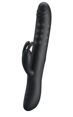 Чёрный вибратор с вращающимися бусинами Colin - 25 см.