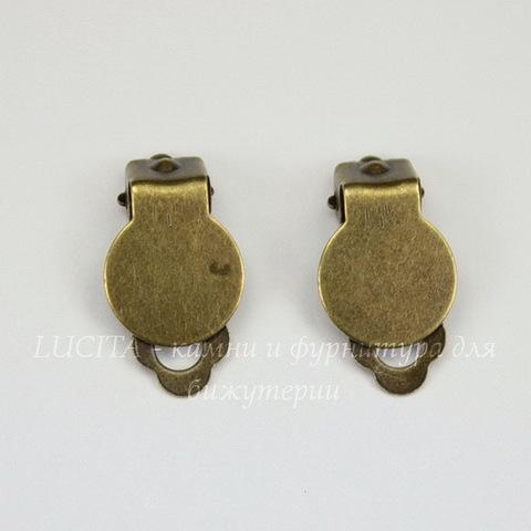 Основы для клипс с площадкой 10 мм, 17х10 мм (цвет - античная бронза), пара