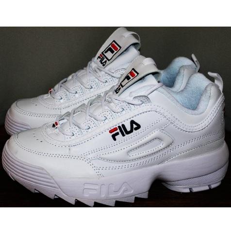 Белые кроссовки женские fila disruptor 2 RN 91175 all white летние