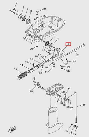 Корпус румпеля для лодочного мотора T5 Sea-PRO (9-1)
