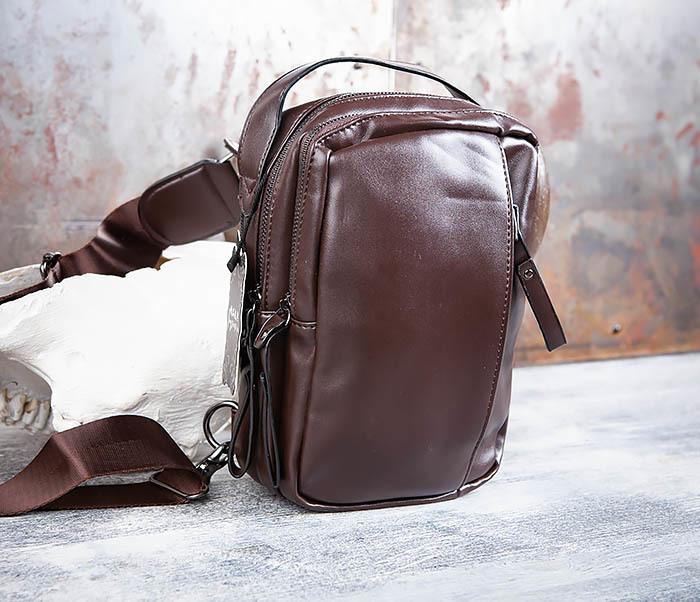 BAG452-2 Коричневый рюкзак с одной лямкой через плечо фото 03