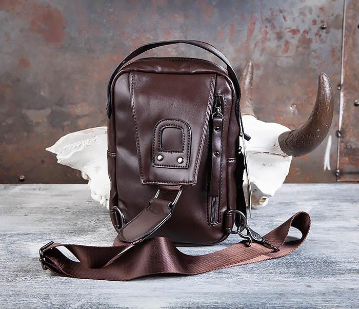BAG452-2 Коричневый рюкзак с одной лямкой через плечо фото 04