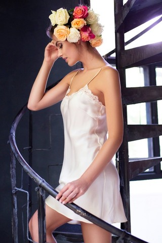 Сорочка шелковая Kristy кремовая