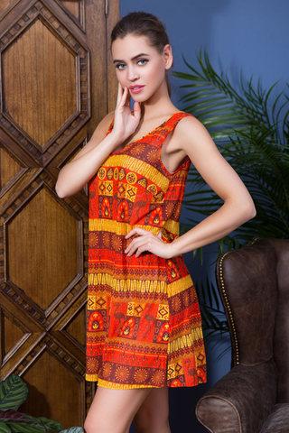 Оранжевое летнее платье без рукавов короткое