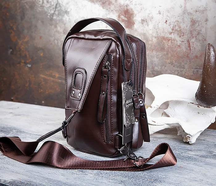 BAG452-2 Коричневый рюкзак с одной лямкой через плечо фото 05