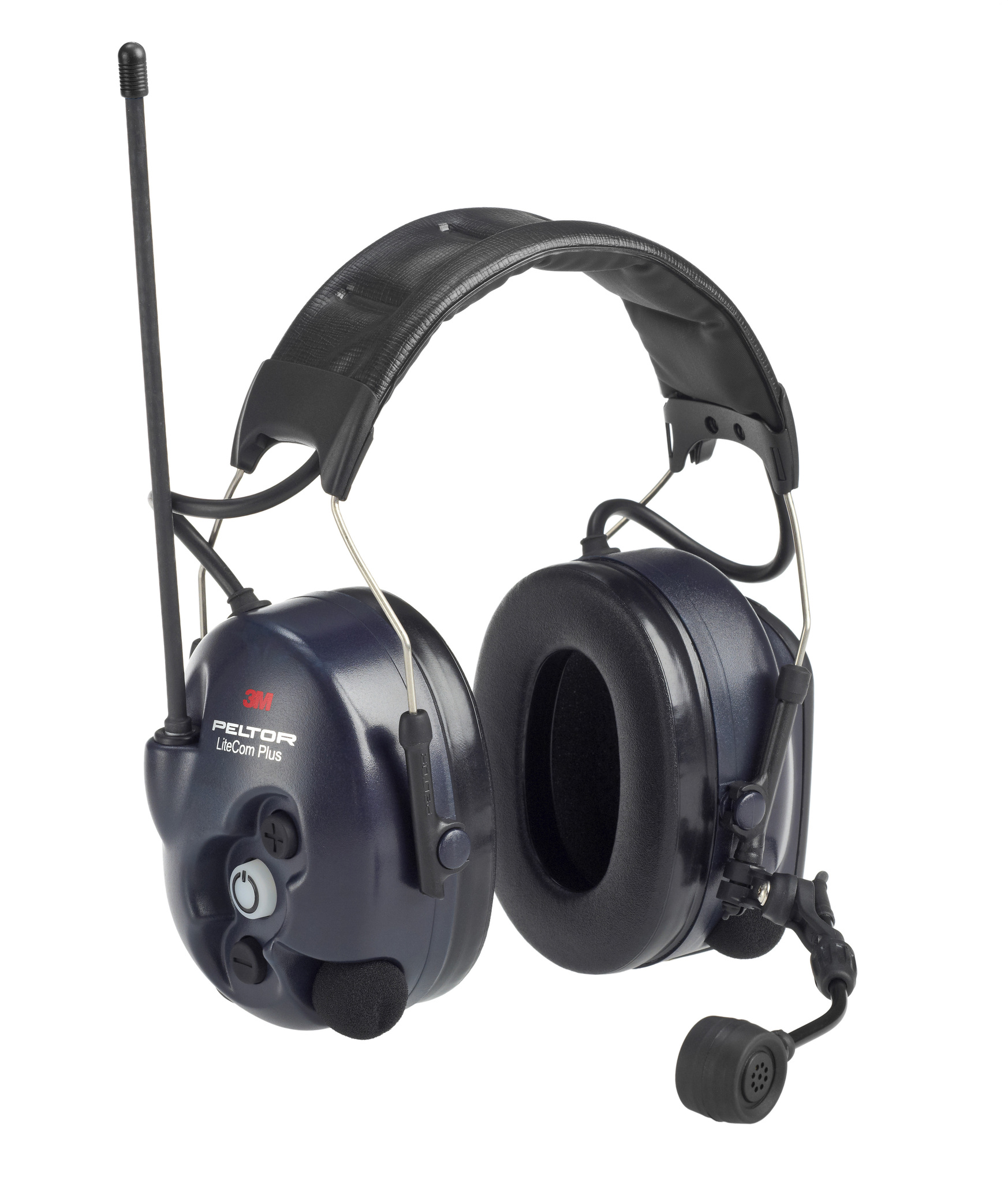 Активные наушники LiteCom Plus PMR, микрофон на жёсткой штанге, стандартное оголовье, тёмно-синие чашки