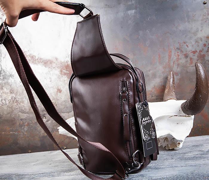 BAG452-2 Коричневый рюкзак с одной лямкой через плечо фото 06