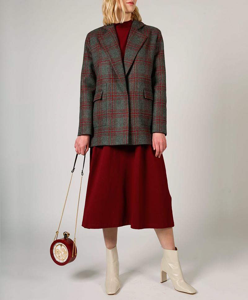 Пальто-пиджак в бордовую клетку