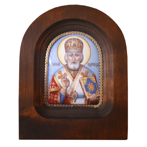 Икона финифть Николай Чудотворец деревянная арка