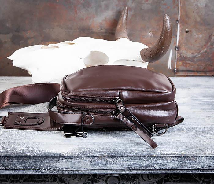 BAG452-2 Коричневый рюкзак с одной лямкой через плечо фото 07