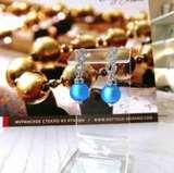 Серьги из муранского стекла со стразами Sandra голубые матовые цвет 056