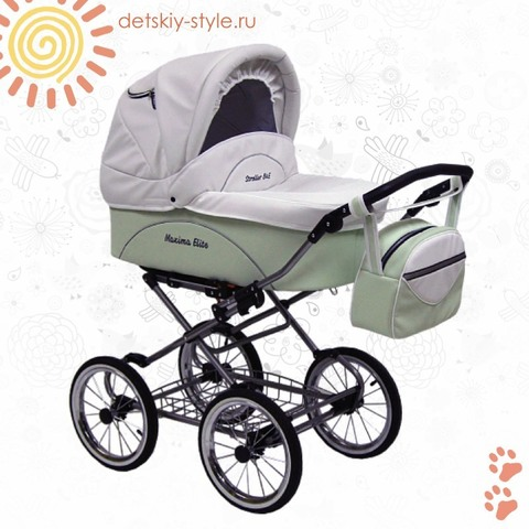 "Коляска Stroller B&E ""Maxima Elite White Кожа"" 2в1"