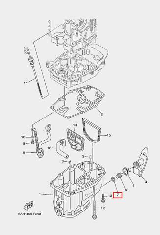Прокладка пробки-винта для лодочного мотора F20 Sea-PRO (22-7)