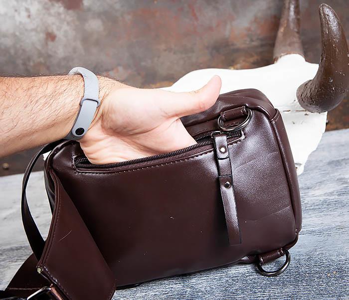 BAG452-2 Коричневый рюкзак с одной лямкой через плечо фото 09