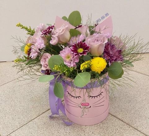 Цветы в шляпной коробке #19140