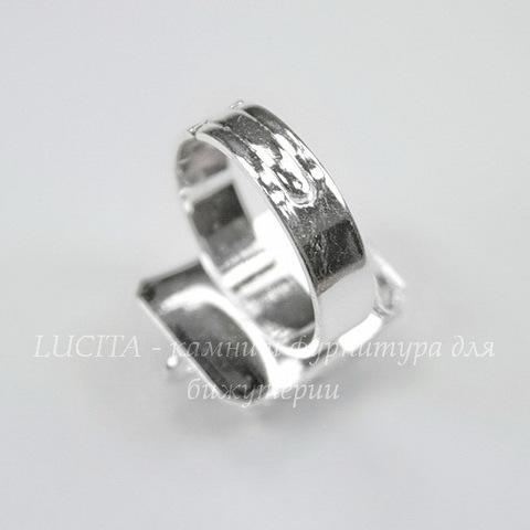 Основа для кольца с прямоугольной площадкой (14 петелек)(цвет - серебро)