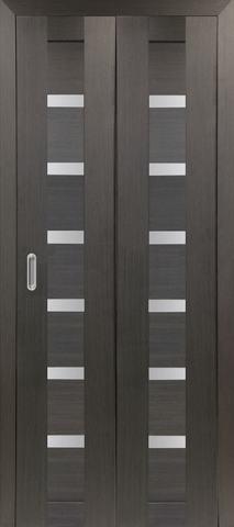 > Экошпон складная Optima Porte Турин 507.12  (2 полотна), стекло матовое, цвет венге, остекленная