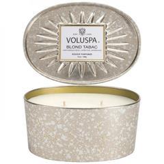 Ароматическая свеча Voluspa Белый табак в овальной банке с 2 фитилями