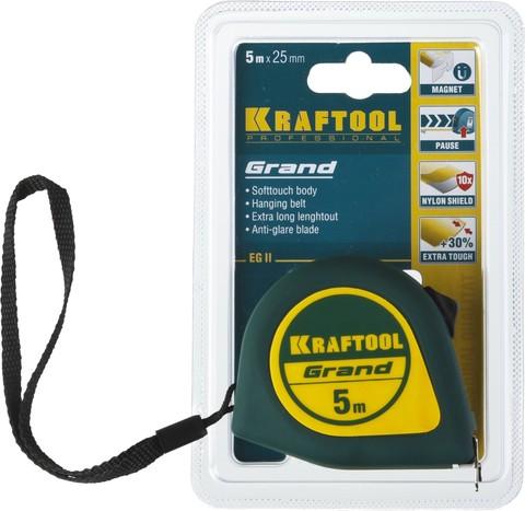 KRAFTOOL GRAND 5м / 25мм рулетка с ударостойким корпусом (ABS) и противоскользящим покрытием