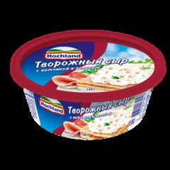 """Сыр творожный """"Hochland"""" с ветчиной и зеленью  140 г"""