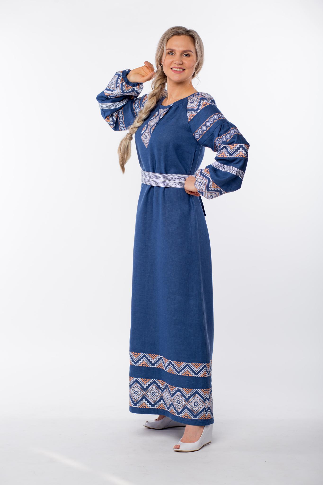 Платье льняное Алтайское левый бок