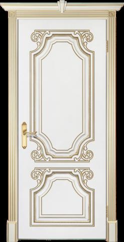 Дверь Prestigio Валентино, цвет  белый/патина золото, глухая