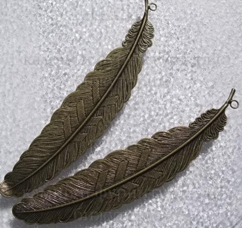 """Основа для закладки """"Перо""""  (цвет - античная бронза) 115 мм ()"""