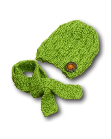 Шапка и шарф - Оливковый. Одежда для кукол, пупсов и мягких игрушек.