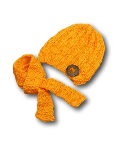 Шапка и шарф - Оранжевый. Одежда для кукол, пупсов и мягких игрушек.