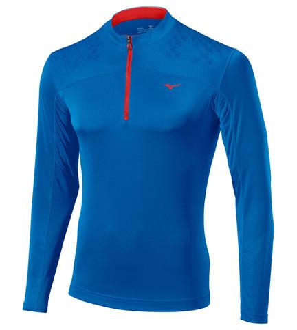 Беговая рубашка Mizuno DryLite Hex LS Tee мужская синяя