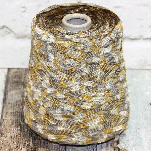 Лента с люрексом LINEAPIU / CRISTALLO 230 серо-золотой с золотом