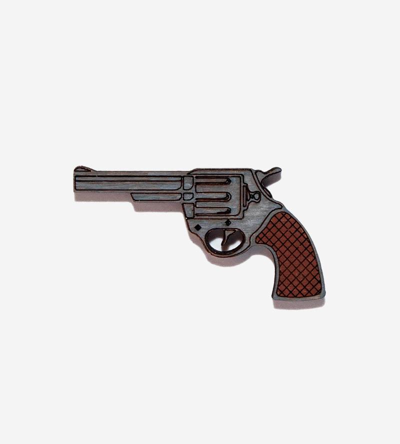 Брошь Револьвер Коричневый