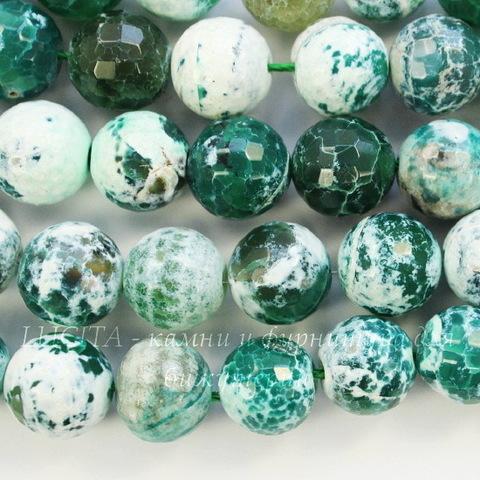 Бусина Агат, шарик, цвет - зеленый с белым, 14 мм, нить